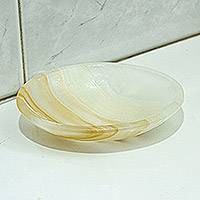 Onyx soap dish, 'Clean Lines' - Striped Onyx Soap Dish Hand Crafted in Mexico