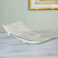White onyx soap dish, 'Onyx Cloud' - White Onyx Soap Dish Hand Crafted in Mexico