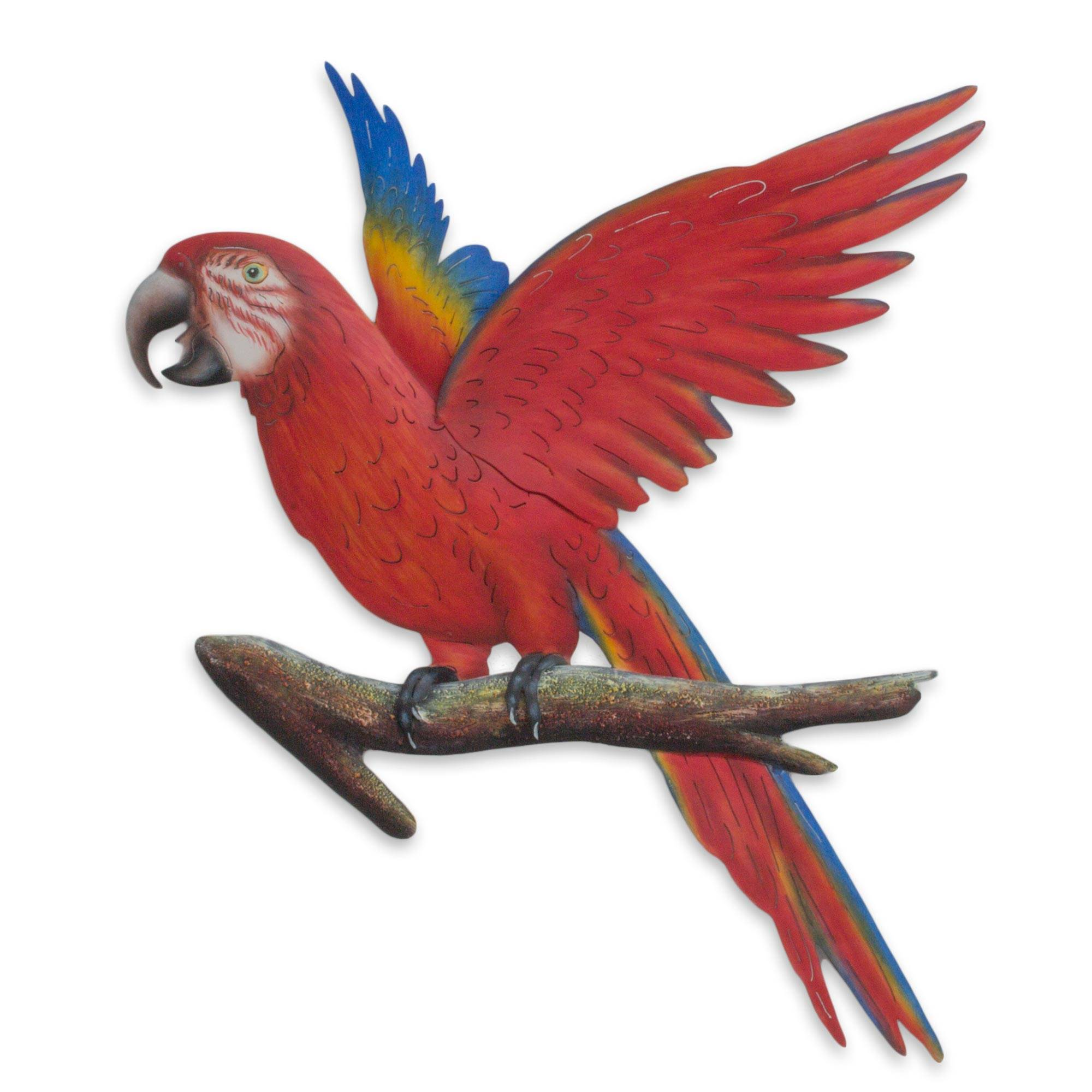 Handcrafted Red Steel Bird Theme Wall Sculpture from Mexico, 'Scarlet Macaw'