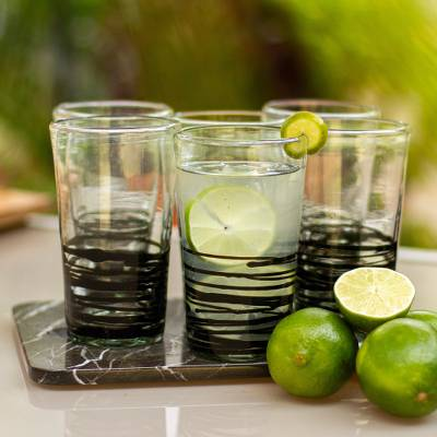Blown glass drinking glasses, 'Ebony Spin' (set of 6) - Set of 6 Hand Blown Black Spiral Glass Tumblers from Mexico