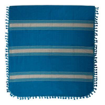 Zapotec cotton bedspread, 'Zapotec Sky' (twin) - Hand Woven Blue Beige Striped Cotton Bedspread King Size