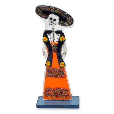 Art glass figurine, 'Catrina the Muse' - Day of the Dead Art Glass Figurine Sculpture from Mexico