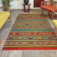 Zapotec wool rug, 'Living Colors' (5x8.5) - Handwoven Multicolor Zapotec Wool Rug from Mexico (5 x 8.5)