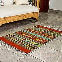 Zapotec wool rug, 'Festive Diamonds' (2x3.5) - Unique Fair Trade Hand Loomed Zapotec Artisan Rug in 100% Na