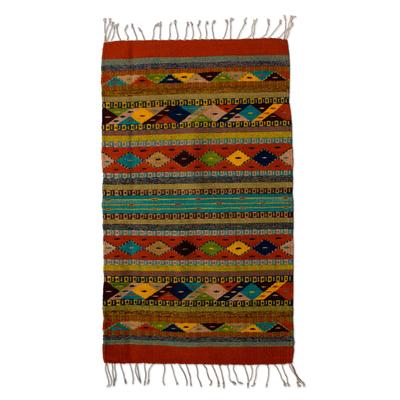 Zapotec wool rug, 'Festive Diamonds' (2x3.5) - Unique Fair Trade Hand Loomed Zapotec Artisan Rug in 100% Na
