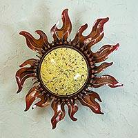 Iron wall lamp, 'Sierra Sun' - Iron Wall Lamp with Hand Painted Glass from Mexico