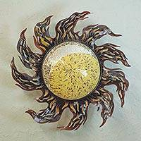 Iron wall lamp, 'Solar Spiral Eclipse' - Iron Wall Lamp Sconce with Hand Painted Glass from Mexico