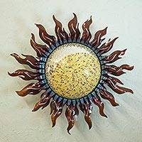 Iron wall lamp, 'Sierra Equinox' - Sun Wall Lamp Artisan Crafted Sconce from Mexico