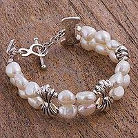 Cultured pearl beaded bracelet, 'Precious Memory' - Cultured Pearl and Sterling Silver Beaded Bracelet