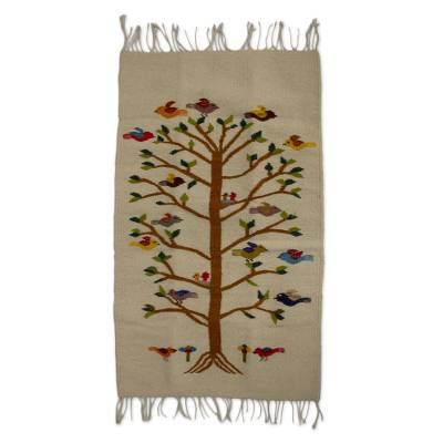 Unicef Market Handwoven Bird Motif Wool Rug From Mexico