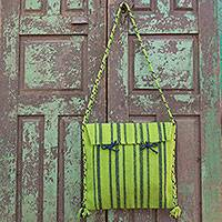 Wool shoulder bag, 'Mexican Lime' - Hand Woven Lime Green Zapotec Wool Shoulder Bag