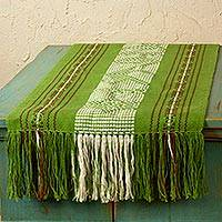 Cotton and silk table runner, 'Oaxaca Meadows' - Backstrap Loom Woven Green Zapotec Table Runner