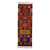Zapotec wool rug, 'Five Stars' (2x7) - Authentic Zapotec Rug Handwoven in Bright Colors