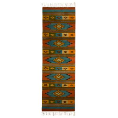 Zapotec wool rug, Azure Star (2.5x10)