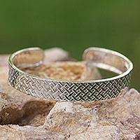 Sterling silver cuff bracelet, 'Weaving Art'