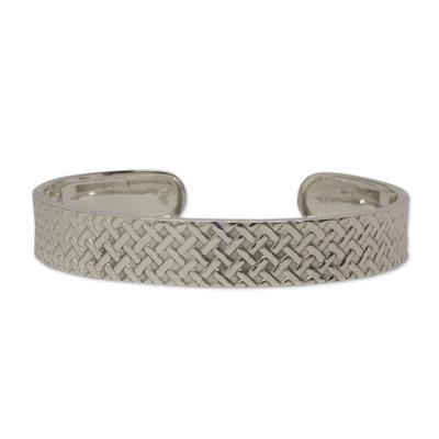 Sterling silver cuff bracelet, 'Weaving Art' - Modern Hand Crafted Taxco Sterling Silver Cuff Bracelet