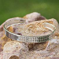 Sterling silver cuff bracelet, 'Weaver' - Hand Made Taxco Silver Modern Cuff Bracelet from Mexico