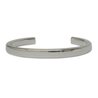 Sleek Polished Taxco Sterling Silver Cuff Bracelet