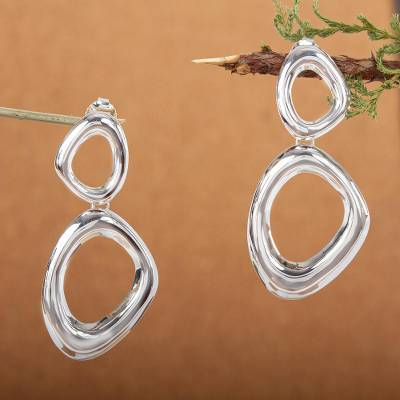 Sterling silver dangle earrings, 'Bold Curves' - Modern Free Form Taxco Polished Sterling Silver Earrings