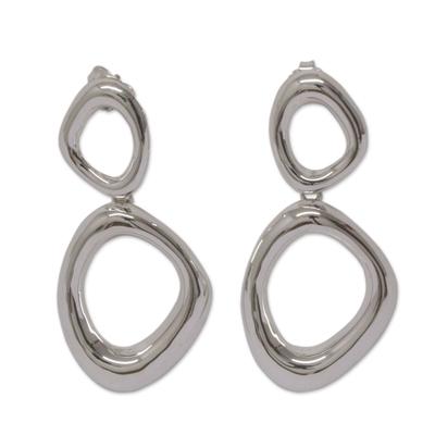 Sterling silver dangle earrings, 'Bold Curves' - Modern Free Form Taxco Polished Sterling Silver Earrings