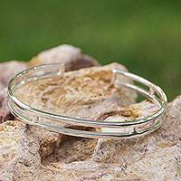 Sterling silver cuff bracelet, 'Contempo' - Sleek Polished Sterling Bracelet of Taxco Silver