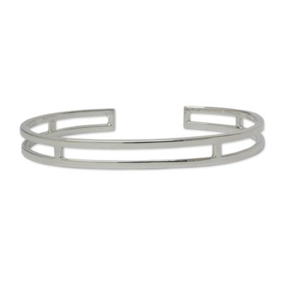 Sleek Polished Sterling Bracelet of Taxco Silver
