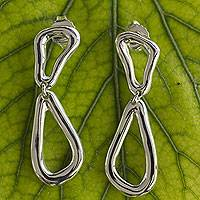 Sterling silver dangle earrings, 'Free Form Drops' - Taxco Sterling Silver Modern Free Form Hand Crafted Earrings