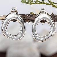 Sterling silver button earrings, 'Shine' - Modern Free Form Taxco Silver Button Earrings from Mexico