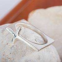 Sterling silver cocktail ring, 'Contemporary Cross' - Minimalist Sterling Silver Hand Made Cross Cocktail Ring