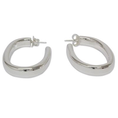 Sterling silver half hoop earrings, 'Oval Halo' - Fair Trade Polished Taxco Silver Half Hoop Earrings