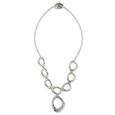 Sterling silver pendant necklace, 'Bold Curves' - Taxco Sterling Silver Modern Free Form Necklace from Mexico
