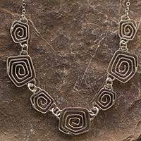 Sterling silver pendant necklace, 'Snail' - Sterling Silver Contemporary Spiral Link Pendant Necklace