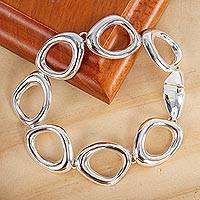 Featured review for Sterling silver link bracelet, Bold Curves