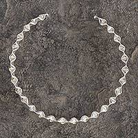 Sterling silver choker, 'Ruffles' - Ruffled Handcrafted Taxco Silver Rigid Choker