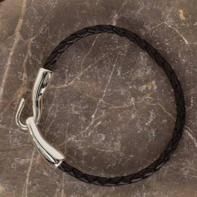 Men's sterling silver bracelet, 'Metropolis' - Men's Collectible Braided Sterling Silver Clasp Bracelet