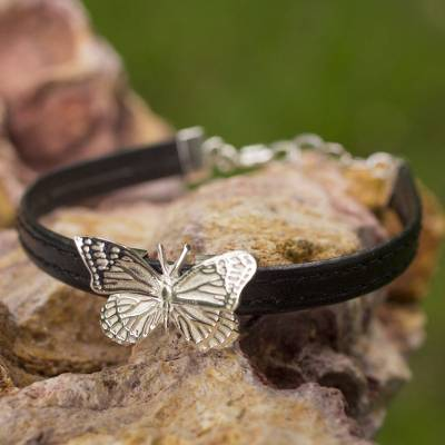 Sterling silver wristband bracelet, 'Monarch Butterfly' - Handmade Sterling Silver on Black Bracelet Taxco Jewelry