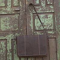 Leather briefcase, 'Achievement' - Handmade Brown Leather Modern Professional Style Briefcase