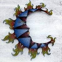 Steel wall art, 'Blue Moon Shadows' - Hand Made Steel Moon Wall Sculpture from Mexico