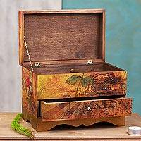 Decoupage jewelry box, 'Thoughts of Paris' - Handcrafted Paris Theme Decoupage Jewelry Box with Drawer