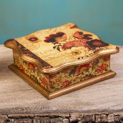 Flower Theme Decoupage Gilded Decorative Pinewood Box Floral Romance