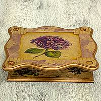 Decoupage jewelry box, 'Blue Hydrangea' - Artisan Crafted Flower Theme Pinewood Decoupage Box