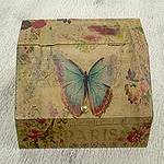 Floral Decoupage Box with Butterflies and Hidden Drawer, 'Butterfly Enchantment'