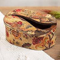 Decoupage jewelry box, 'Memories' - Oval Decoupage Victorian-Style Pinewood Treasure Box