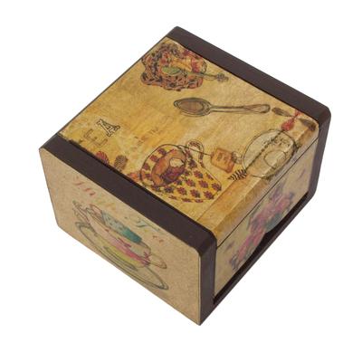 Decoupage box, 'Tea Time' - Petite Ventilated Decoupage Decorative Tea Box from Mexico