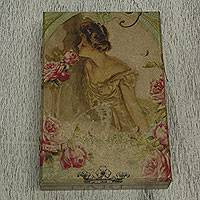 Decoupage box, 'Gibson Girl' - Romantic Gibson Girl Decoupage Decorative Pinewood Box
