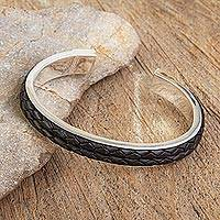 Sterling silver and leather cuff bracelet, 'Rancho Black' - Taxco Silver Hand Crafted Cuff with Black Leather Braid