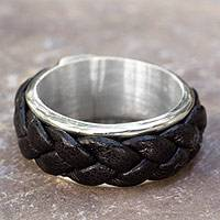 Men's sterling silver and leather ring, 'Sierra' - Fair Trade Men's Sterling Silver Leather Band Ring
