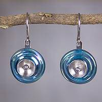 Dichroic art glass dangle earrings, 'Sky Halo'