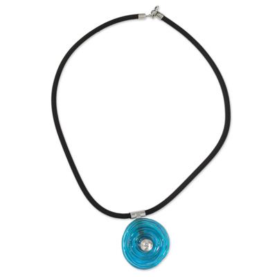 Dichroic art glass pendant necklace, 'Sky Halo' - Hand Made Sterling Silver and Art Glass Pendant Necklace