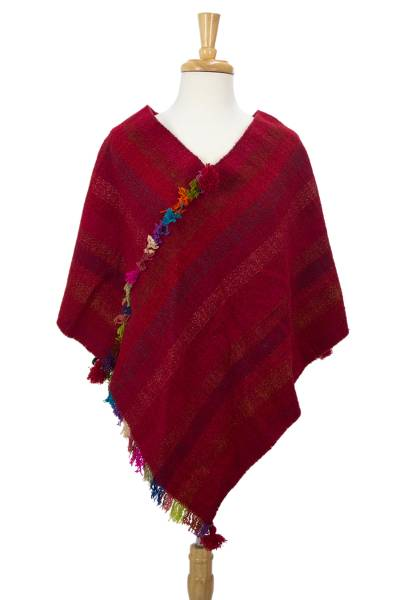 Mexican Hand Woven Red Wool Zapotec Women